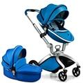 Hot Mom Luxury European Baby Stroller Infant Pram 4-Wheels Shock Absorbing Aluminum Frame Pu Leather Separate Sleeping Basket