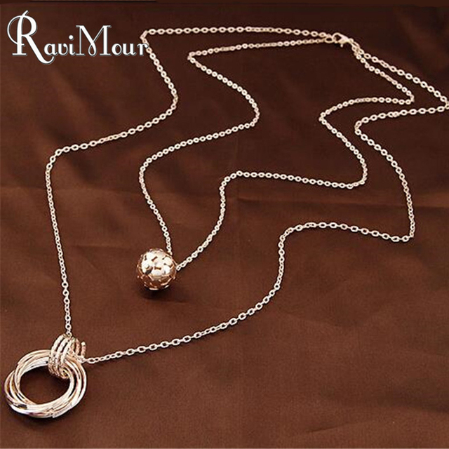 Gold/Silver Plated Double Chain Balls Circles Long Necklaces & Pendants Fashion Statement Colares Femininos Women Jewelry 2017