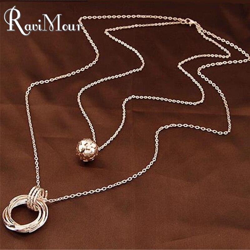 RAVIMOUR Double Chain Balls Circles Long Necklaces & Pendants