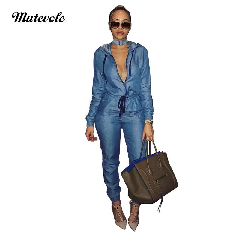 Mutevole Long Sleeve Bodycon Denim   Jumpsuit   Women Hooded   Jumpsuit   Overalls Zipper Drawstring Casual Jeans   Jumpsuit   One Piece