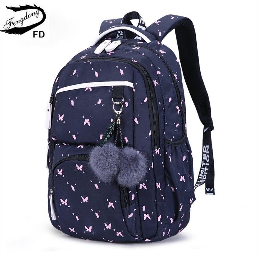 FengDong かわいい学校十代の少女韓国スタイル女の子のための毛皮のボールの装飾子供女の子のギフトスクールバッグ   -