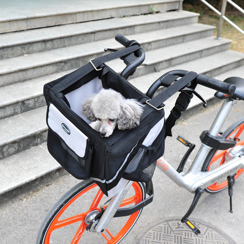 Luxury Durable Pet Bicycle Basket Carrier Bicycle Dog Leash Car Foldable Transport Bag Carrying Travel Seat