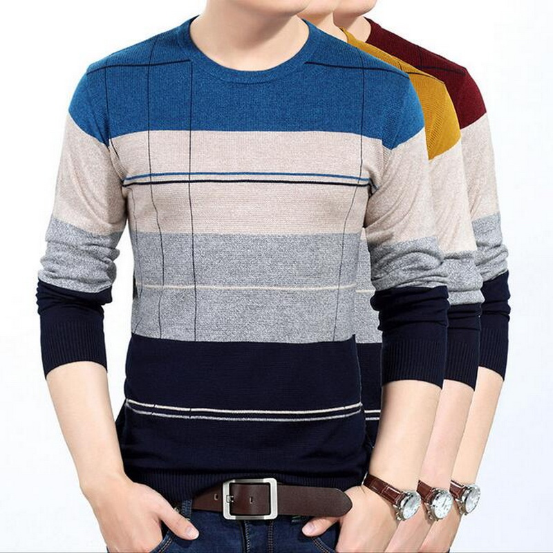 Men's Sweater Pull Christmas-Pull Round-Neck Homme Leisure Rouran Spell-Color New-Arrived
