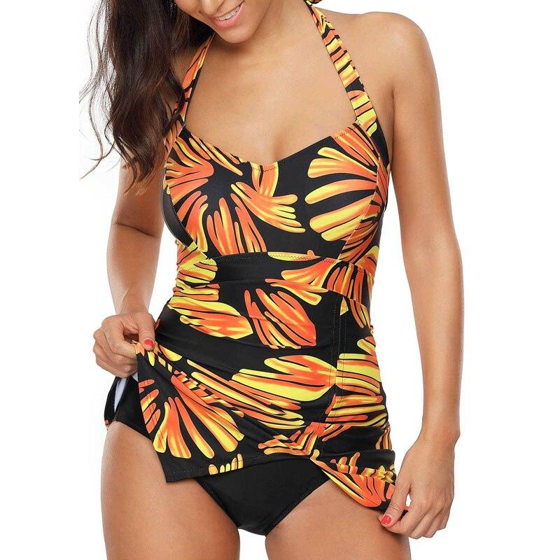 Swimwear Women's Swimming Suit Conservative Printed One Piece Big  Size 3XL Beach Swimsuit 2019 Swimwear New Monokini Bodysuit 2