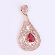 Luxury Design 9 Colors Micro Pave Water Drop Pendants Charm Fit Necklace Hollow Flower Connector DIY Handmade Jewelry Findings(China)