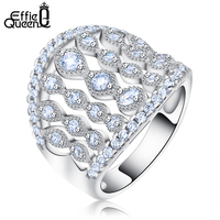 White Gold Plated Cubic Zircon Jewelry Finger Ring For Women New Trendy Heart Ring DAR030