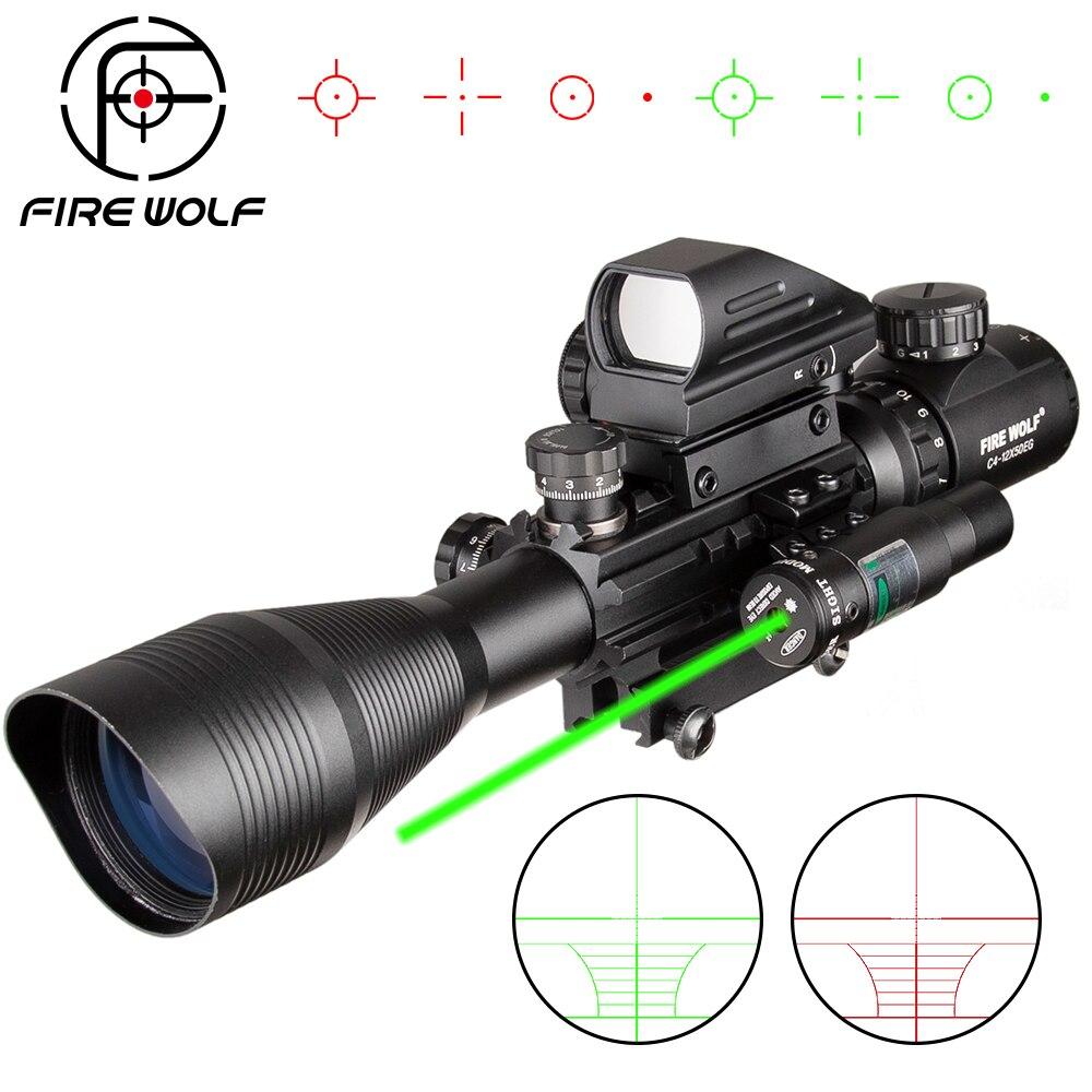 4 12X50 EG Охота Airsofts тактический оптический прицел Воздушный пистолет Красный Зеленый точечный Лазер прицел голографический оптический прицел