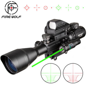 4-12X50 EG Hunting Airsofts Riflescope Tactical Air Gun Red Green Dot Laser Sight Scope Holographic Optics Rifle Scope new 3 9x42eg hunting rifle scope red green dot illuminated telescopic sight riflescope w tactical red laser scope sight