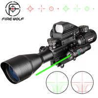 4-12X50 np. polowanie Airsofts luneta taktyczna wiatrówka czerwony zielony Dot Laser luneta holograficzny optyczna luneta celownicza do karabinu