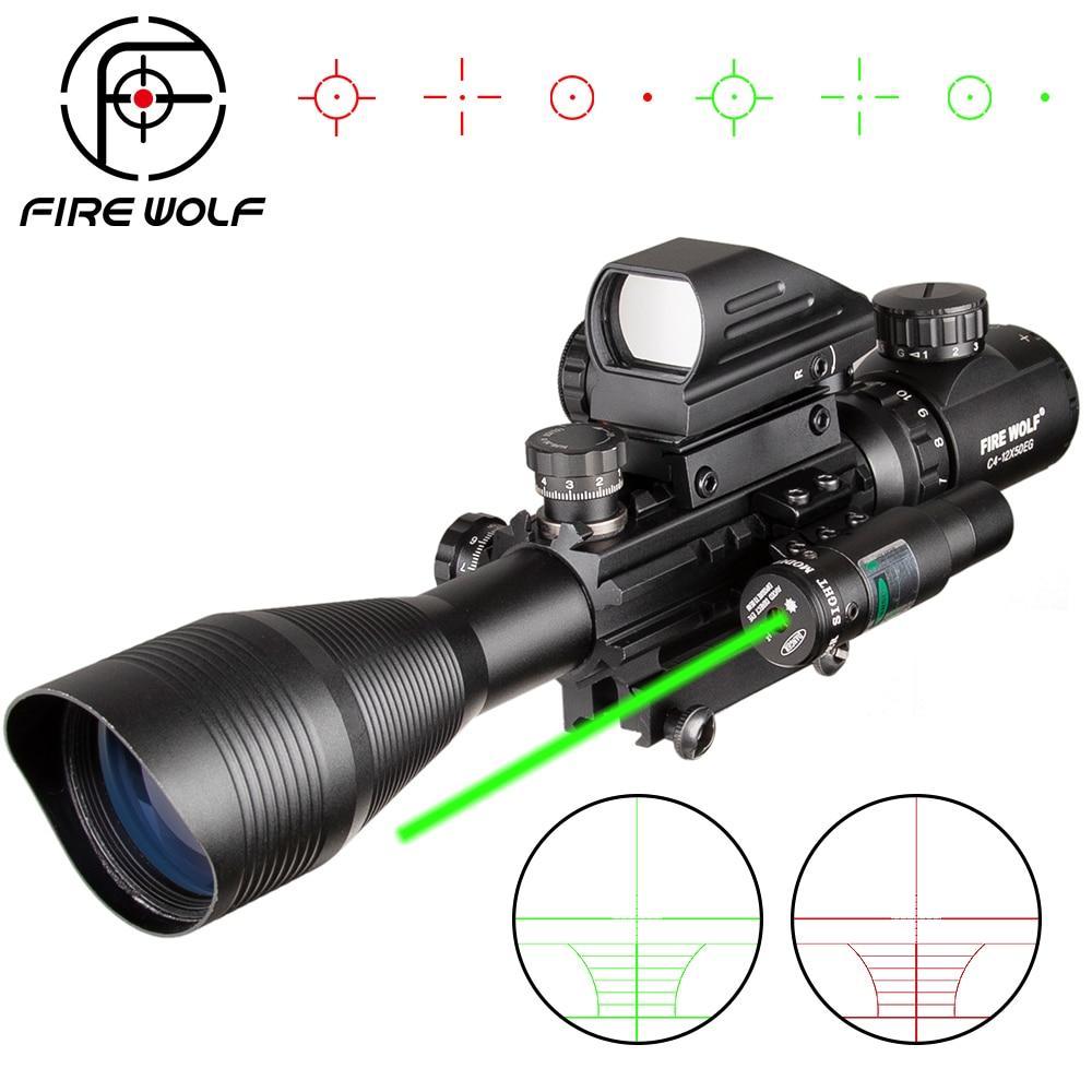 EG 4-12X50 Caça Riflescope Tactical Airsofts Air Gun Red Green Dot Mira A Laser Scope Holographic âmbito Ótica Rifle