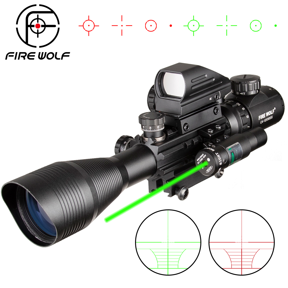 EG 4-12X50 Caça Riflescope Tactical Airsofts Air Gun Red Green Dot Mira A Laser Scope Holographic âmbito Ótica Rifle