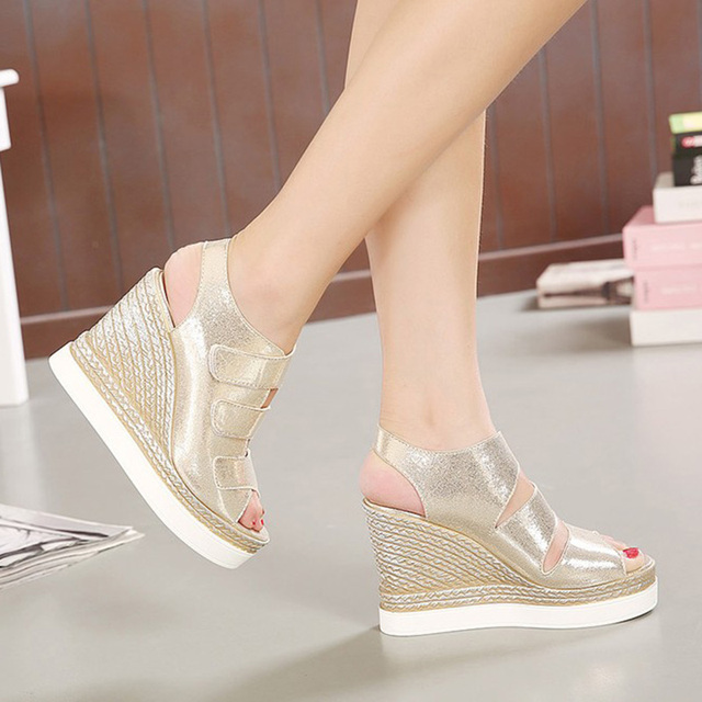 New Arrival Open Peep Toe Thick Soled Creepers Gold Silver Korean 2016 Fish Mouth Women Dress Shoes Pumps High Heels