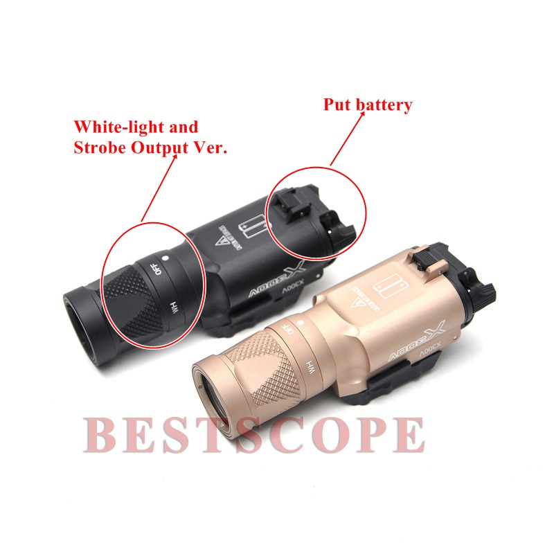 Surefire LED Weapon X300V With White-light and Strobe Output Night Hunting Scopes Black Handgun Sight Scope x400 led weapon light handgun flashlight with red laser sight for rifle scope outdoor hunting shooting camping free shipping