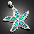 Free Gift Box Noble Starfish Blue Fire Opal Women Jewelry Silver Plated Pendant 1 3/8'' OP195