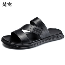 outdoor summer sandals mens slippers outside fender men genuine leather British retro shoes cowhide