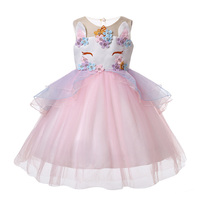 Cosplay Floral Girls Dress Unicorn Embroidery Flower Beading Gauze Children Princess Dresses for Wedding Party Tulle Clothing