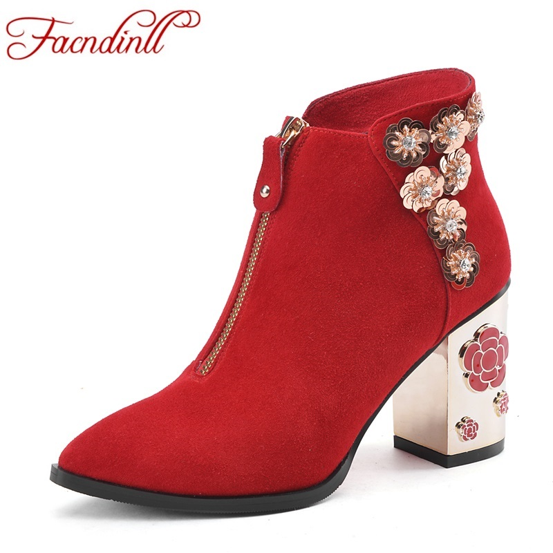 ФОТО sweet design sequins shoes autumn winter leather boots women ankle boots sexy high heels new brand design ladies casual shoes