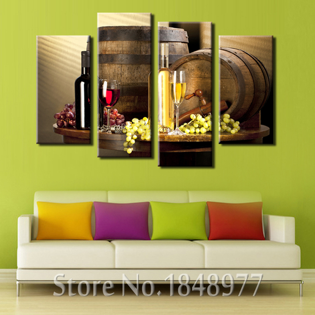 4 Pieces Modern Bar Dining Room Creative Mural Simple Canvas Paintings Kitchen Fruit Wine Wall Art