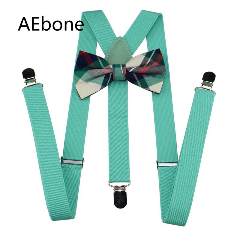 AEbone Bretels Unisex Bow Tie And Suspenders For Men Bowtie Braces Women Wide 2.5cm Red Suspensores Para Hombre Sus62