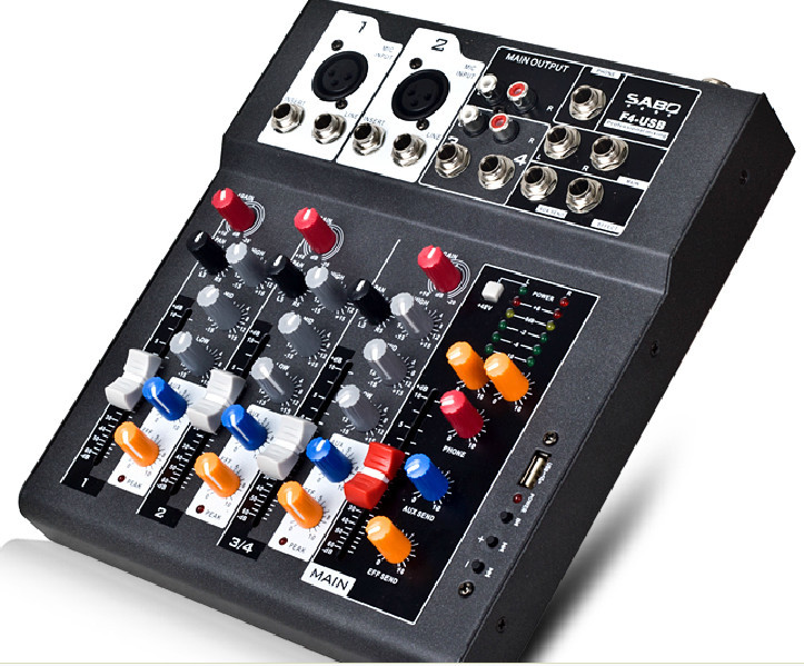 F4-USB Mini Audio Mixer Console with USB,Built in effect processor Audio Mixer, 4 channel mixer sound console 48v power supply vadiboer f8 professional 6 channels mixer console with bluetooth effect 48v phantom power supply mini stage audio console equipm