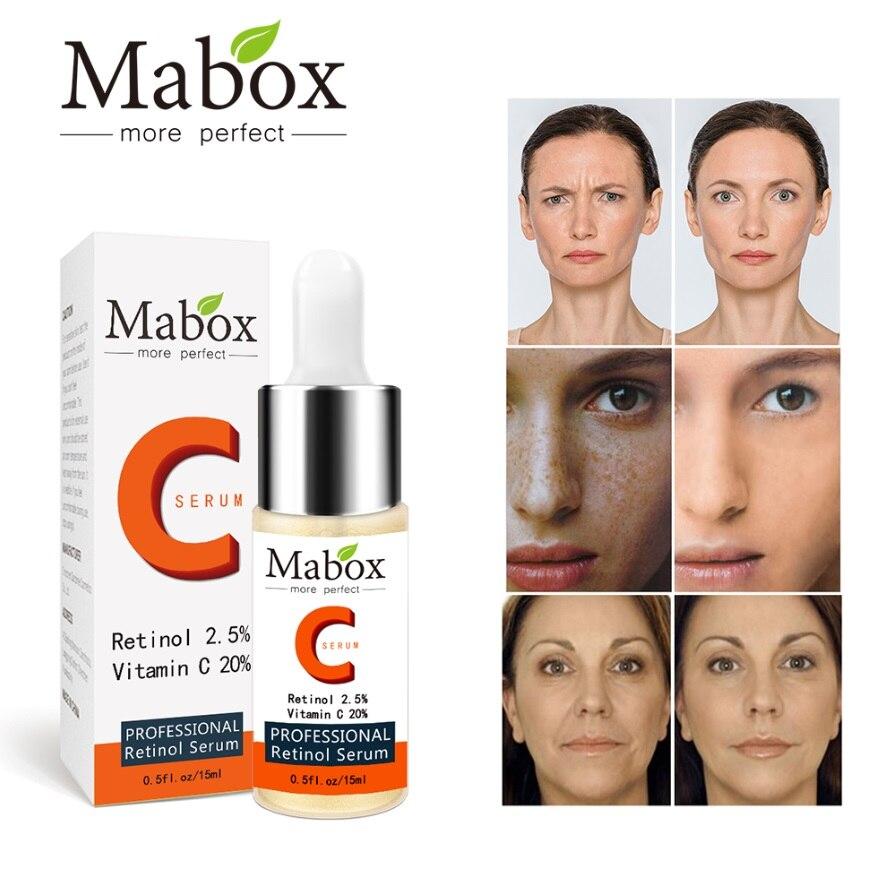 MABOX Retinol 2.5% Vitamin C Facial Hyaluronic Acid Face Serum Whitening Facial Lifting Serum Makeup Removal Serum DROPSHIPPING