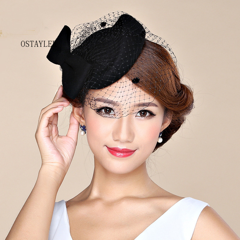 0420b310a25182 High End Elegant Ladies Cocktail Headwear Australian Wool Felt Dot Face  VEil Fedora Hat Red Pink Wool Pillbox Wedding Beret Hat-in Hats & Caps from  Mother ...