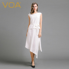 VOA 2017 Summer Fashion White Silk Dress Women Short Sleeve O-neck Splicing Fake Two Peice Irregular Office Dress A6588
