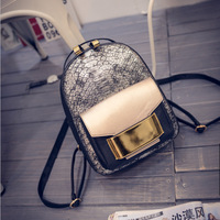 Retro Snake Backpack Women Pu Leather Gold Silver Rucksack Glitter School Bag Ladies Girls Travel Shoulder