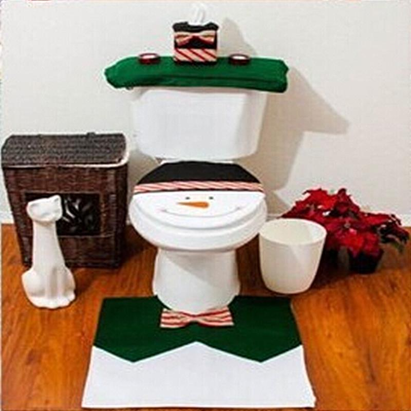 1set Christmas Fancy Santa Toilet Seat Cover Rug Bathroom Set Contour Natal Navidad Decoracion New Year Gift In Covers From Home