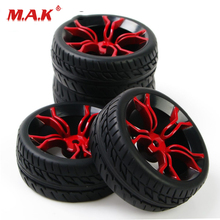 4Pcs/Set 1:10 Scale Flat Racing Tires and Wheel Rims with 12mm Hex fit HSP HPI On Road Car Model Toys Accessory 12mm hex rc car model kids toys accessory 1 10 flat rubber tires and wheel rim for hsp hpi rc on road racing car 10365 21006