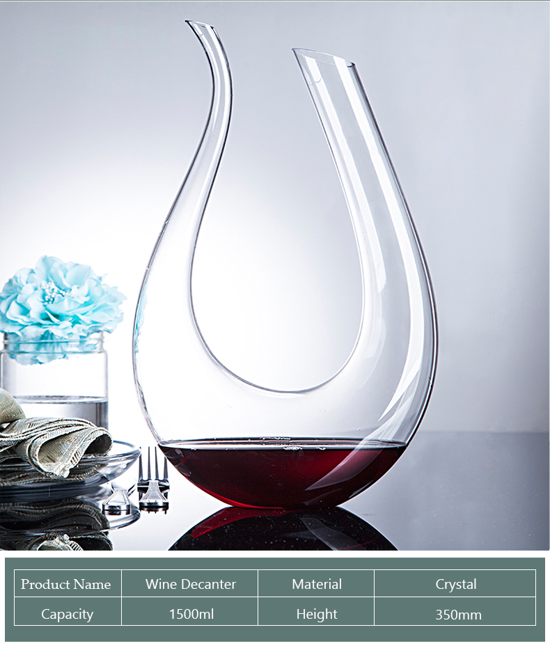 Handmade Crystal Red Wine Glass Decanter Brandy Decant Set Jug Bar