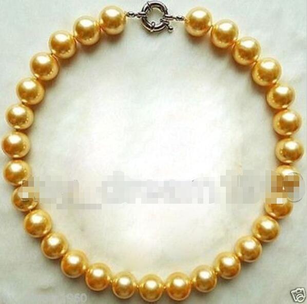 "Venda quente novo estilo >> >> > nova enorme 14 mm Natural amarelo mar sul Shell Pearl Pendant Necklace 18 """