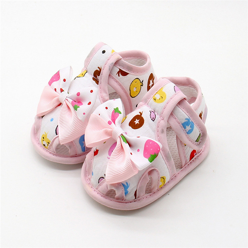 2017 100% Brand new and high quality Newborn Infant Baby Girls Summer Bow Soft Sole Toddler Anti-slip Shoes LR3