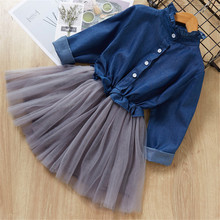 Girl Princess Dress 2019 Autumn Baby Denim Stitching Mesh Tutu Dresses Fashion Children Clothing Clothes 3-8Y