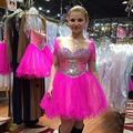 Beautiful Rose Short Homecoming Dresses A-line Cap Sleeve Tulle with Sparking Beads Sweetheart Above Knee 2016 Graduation Gowns