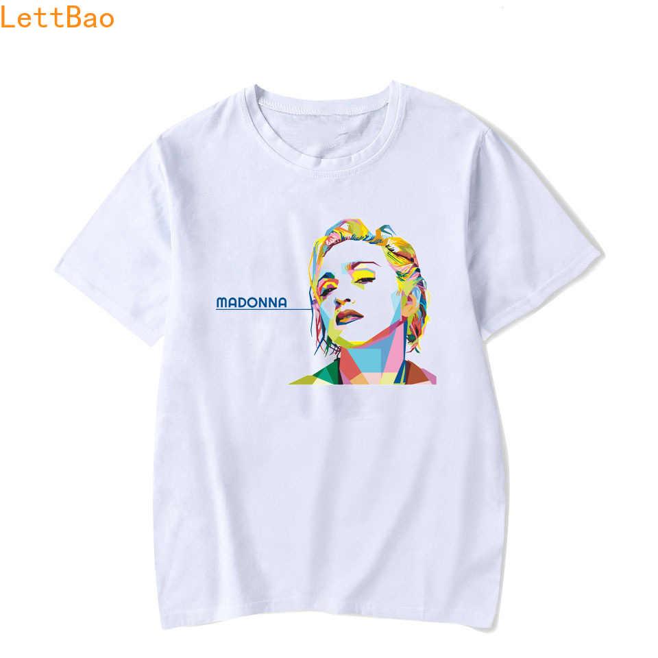 マドンナ Tシャツ男性/女性ファッション半袖白色素敵なマドンナ Tシャツ夏トップ岩 tシャツオムカジュアルユニセックス