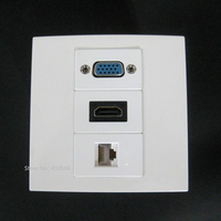 Professional Good Working Wall Panel Socket Jack With VGA HDMI RJ45 86x86mm Panel Plug