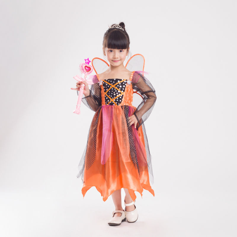 Girl's Pumpkin Fairy Elf Butterfly Costume Halloween Kid Child Flower Fairy Princess Cosplay Fancy Dress with Wing