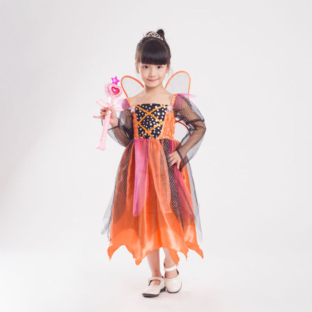 f7a98ccff21 US $18.03 18% OFF|Girl's Pumpkin Fairy Elf Butterfly Costume Halloween Kid  Child Flower Fairy Princess Cosplay Fancy Dress with Wing-in Girls Costumes  ...
