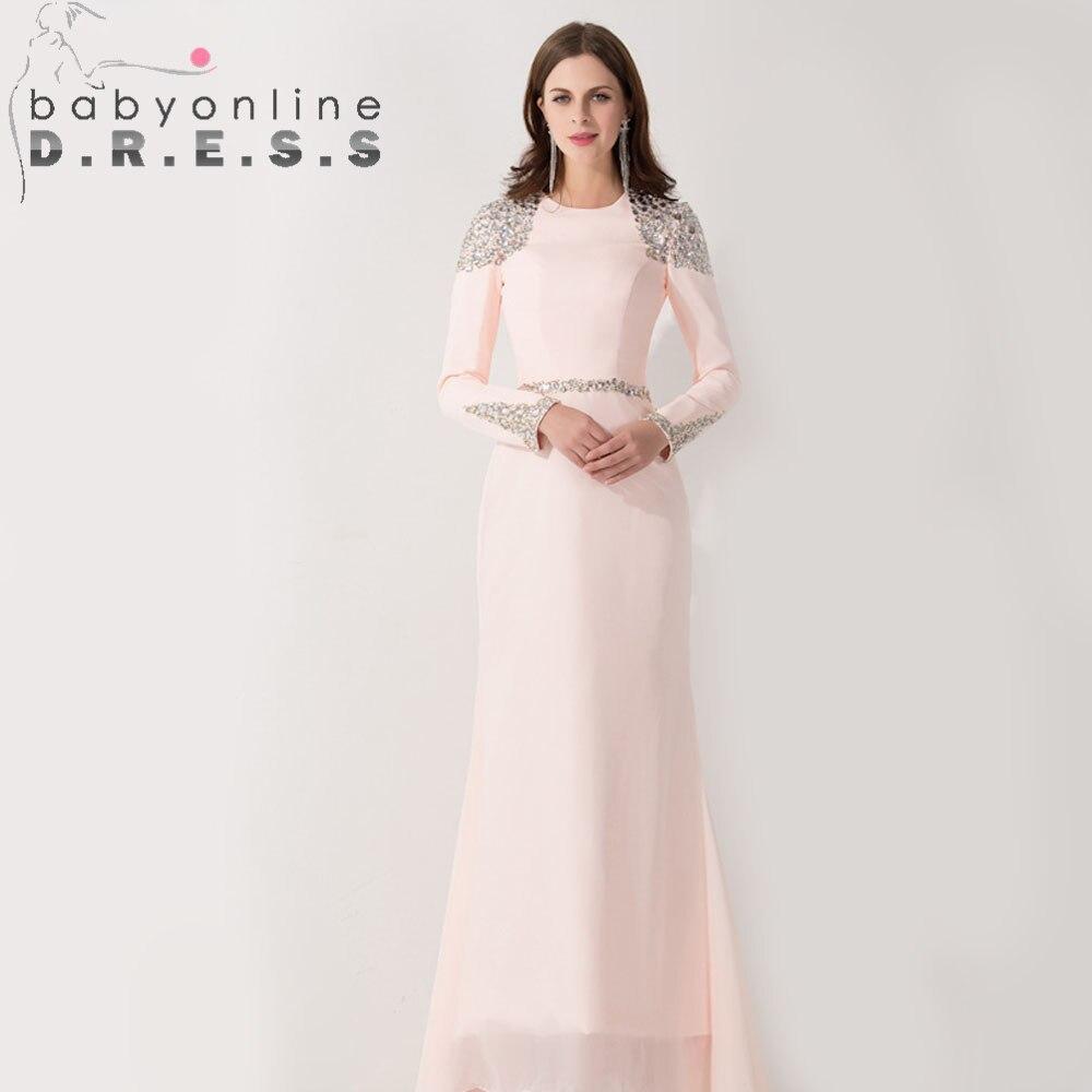 Pink Long Sleeve Muslim Arabic Mermaid   Evening     Dress   Beaded Crystals Saudi Dubai Kaftan   Evening   Gown Robe de Soiree Longo