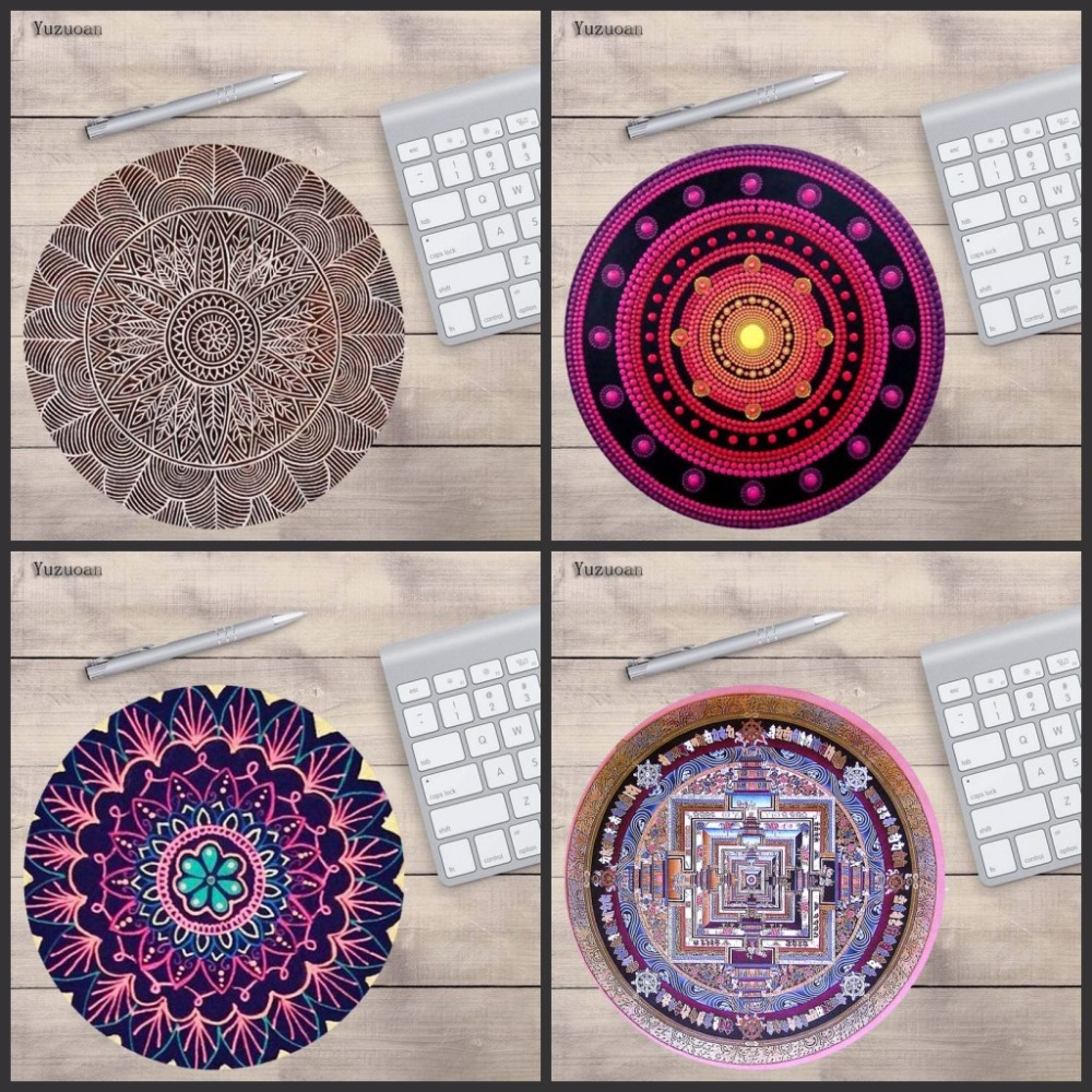 Yuzuoan Wholesale Round laptop Mouse Pad Desert Mandala Circle of Friends Customize Your Own Good Quality Anti-Skid Table Mats
