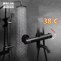 Maijiesheng термостатический черный набор для душа ванной смеситель для душа горячей и холодной термостатический для ванной смеситель для душа