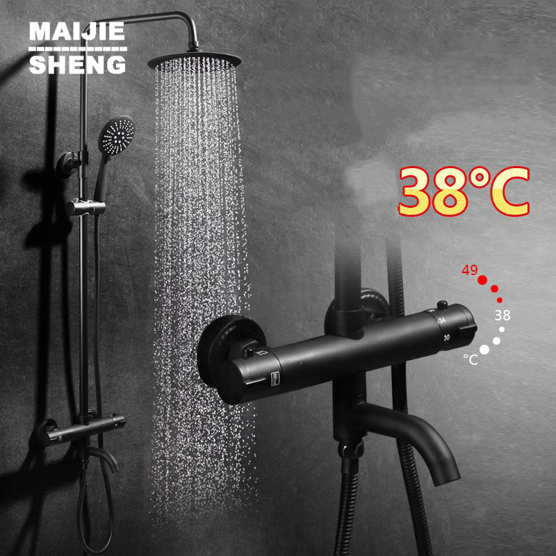 Maijiesheng thermostatic black shower set bathroom shower mixer hot and cold thermostatic shower bathroom shower faucet dofaso quality black and chorme mixer thermostatic shower faucet bathroom wall mount simple thermostatic shower mixer set
