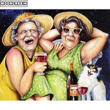 Pintura de diamantes Diy MOONCRESIN dos señoras de punto de cruz mosaico bordado de diamantes retrato completo cuadrado Rhinestone decoración del hogar
