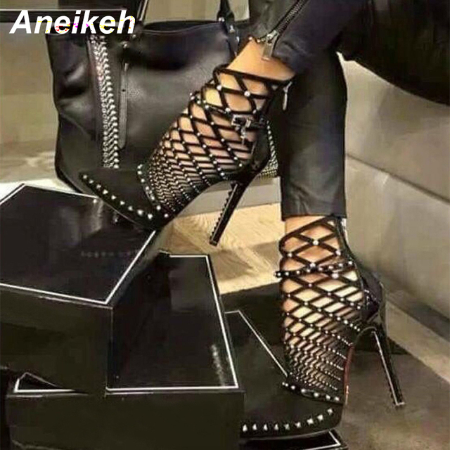 Aneikeh 2019 Gladiator Roman Sandals Summer Rivet Studded Cut Out Caged  Ankle Boots Stiletto High Heel Women Sexy Shoes Boot ca65ec0e47e4
