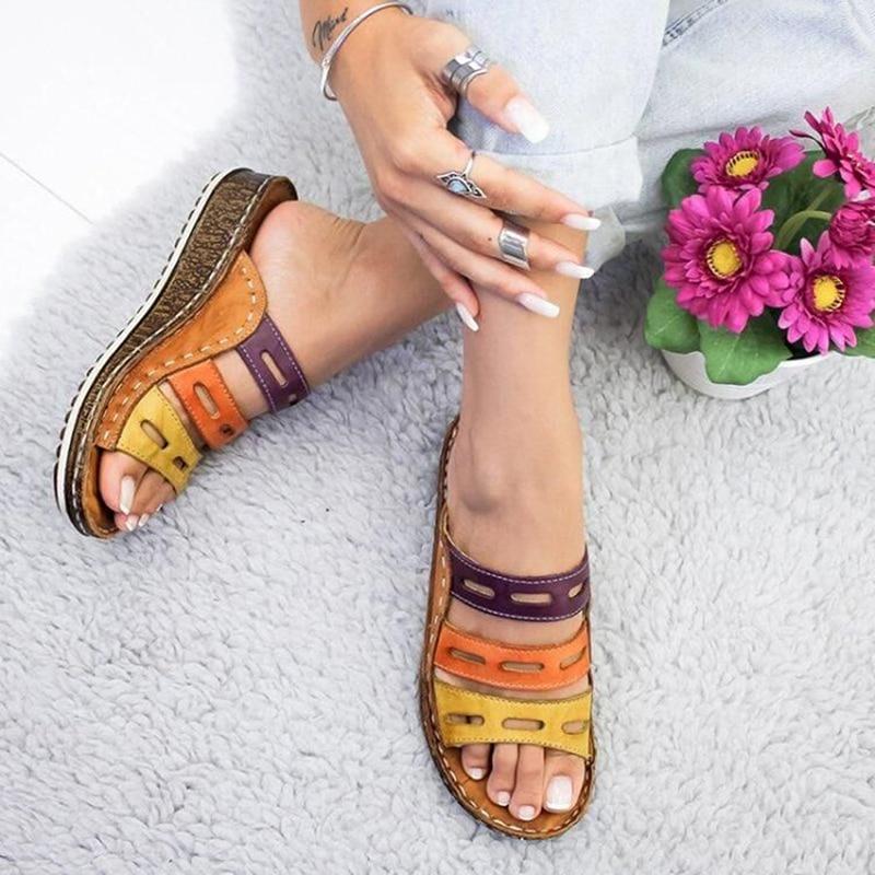 Chic Sommer Frauen Dame Mode Drei-nähte farbe Casual Niedrigen Keil Ferse Strand Öffnen Peep Toe Sandalen Hausschuhe schuhe