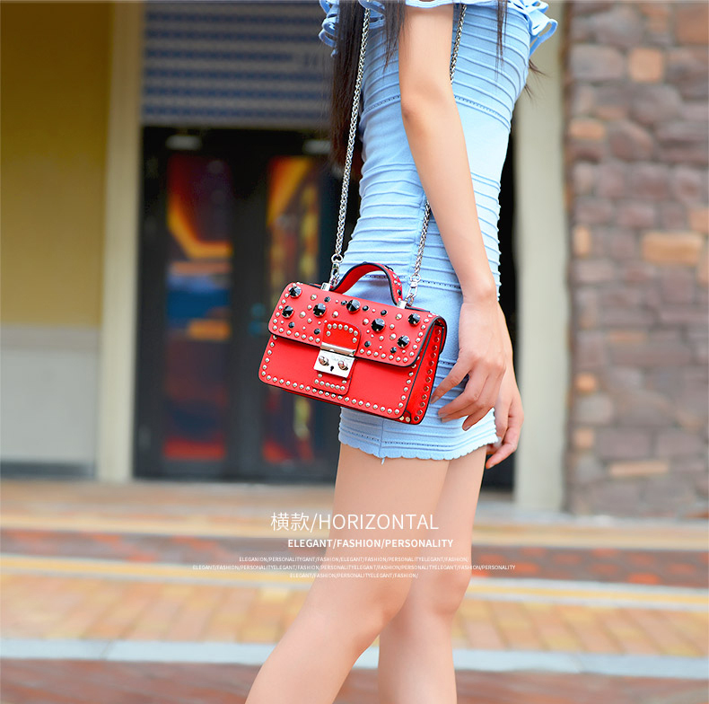 Mode femmes Messenger sac nouvelle marque en cuir véritable femme sac à bandoulière de luxe diamant femme sacs à main sangle sacs blanc - 5