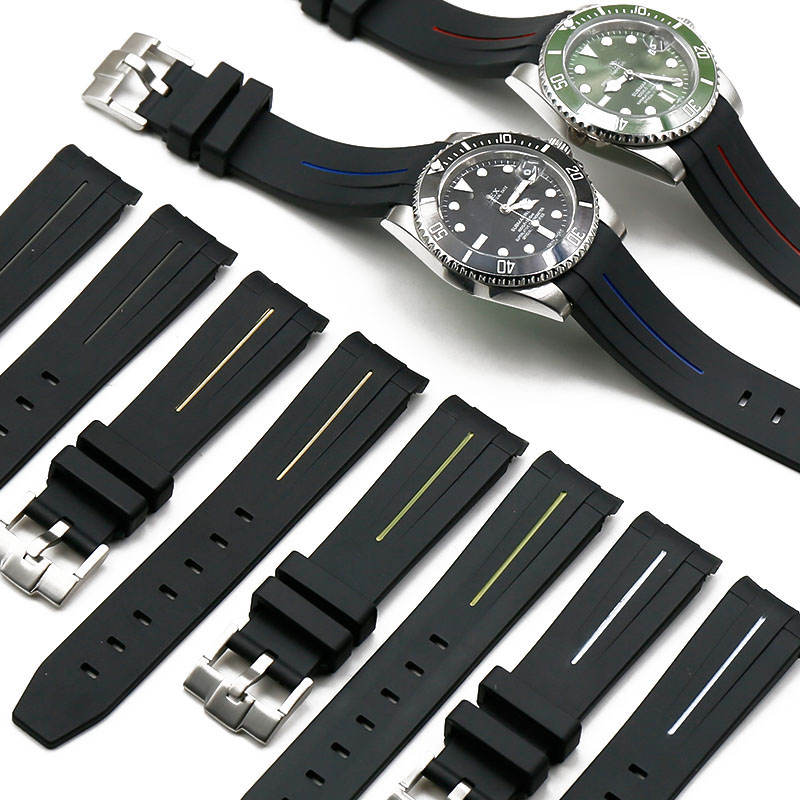 Silicone Strap Men's Watch Accessories Pin Buckle 20mm21mm For Rolex Water Ghost GMT Rubber Strap Women's Sports Waterproof Band
