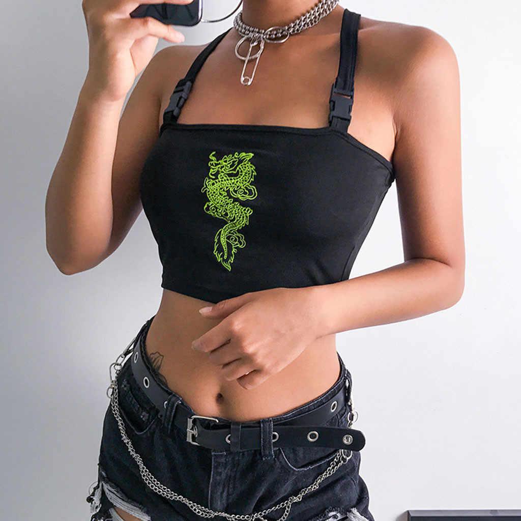 夏女性タンクトップとキャミソールな背中のクロス反射バックルトップ bralet チューブ女性ファッションドラゴンプリントベスト
