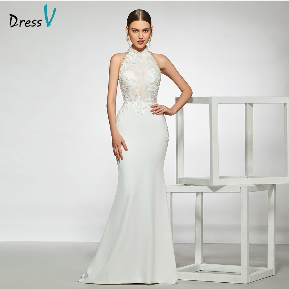 Dressv Elegant Sample Halter Neck Mermaid Wedding Dress Sleeveless Appliques Floor Length Simple Bridal Gowns Wedding Dress